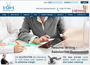 1 on 1 resumescom review companys home page