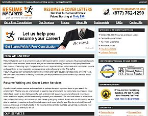 resumemycareercom review companys home page